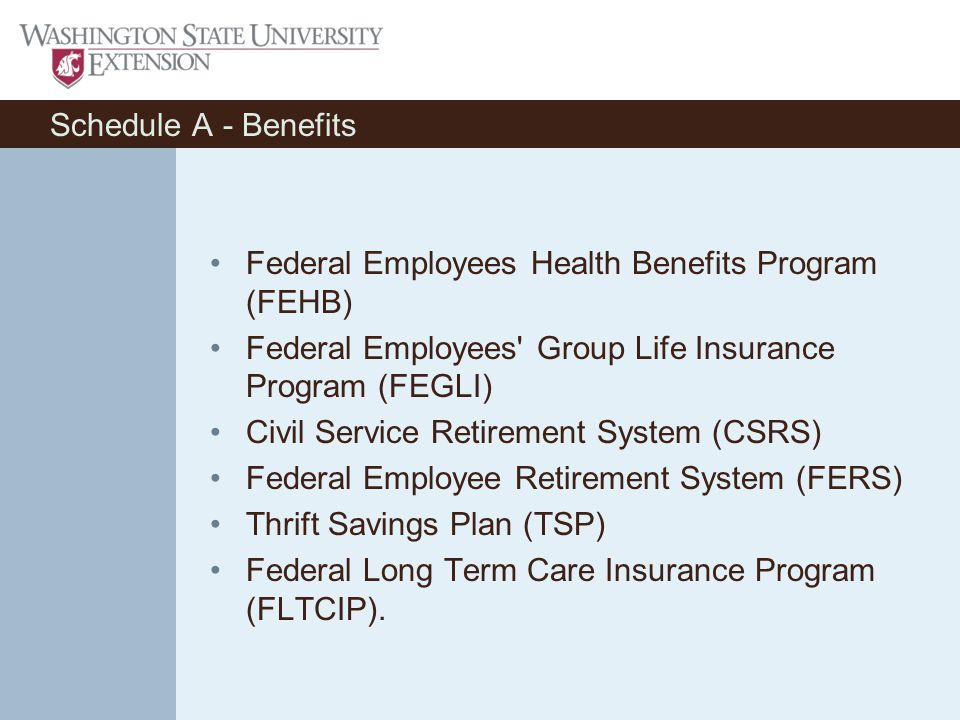 Schedule A - Benefits Federal Employees Health Benefits Program (FEHB) Federal Employees Group Life Insurance Program (FEGLI) Civil Service Retirement System (CSRS) Federal Employee Retirement System (FERS) Thrift Savings Plan (TSP) Federal Long Term Care Insurance Program (FLTCIP).