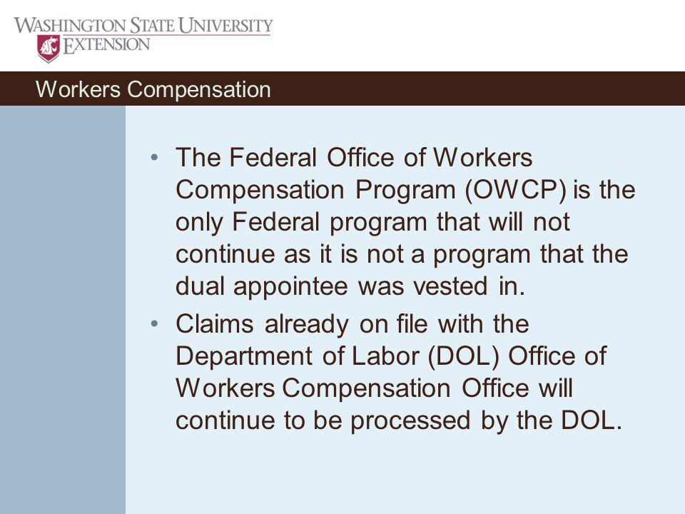 Workers Compensation The Federal Office of Workers Compensation Program (OWCP) is the only Federal program that will not continue as it is not a program that the dual appointee was vested in.