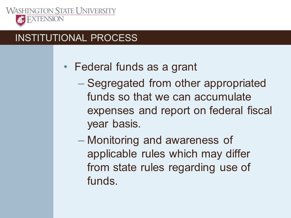 INSTITUTIONAL PROCESS Federal funds as a grant –Segregated from other appropriated funds so that we can accumulate expenses and report on federal fiscal year basis.