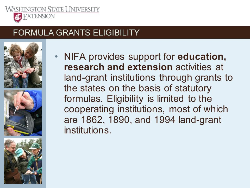 FORUMULA GRANTS - TYPES Research: Includes Animal Health, Evans-Allen, Hatch Act and McIntire- Stennis.