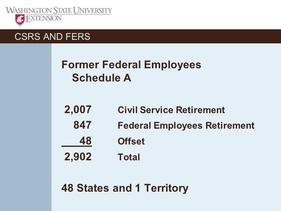 CSRS AND FERS Former Federal Employees Schedule A 2,007 Civil Service Retirement 847 Federal Employees Retirement 48 Offset 2,902 Total 48 States and 1 Territory