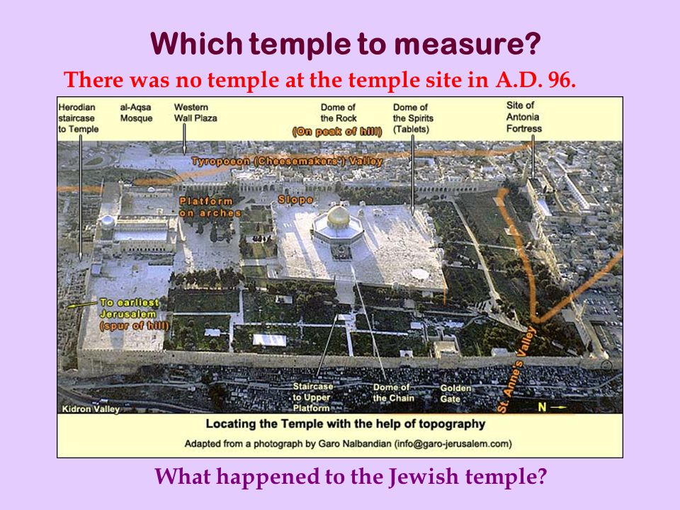 Which temple to measure. There was no temple at the temple site in A.D.