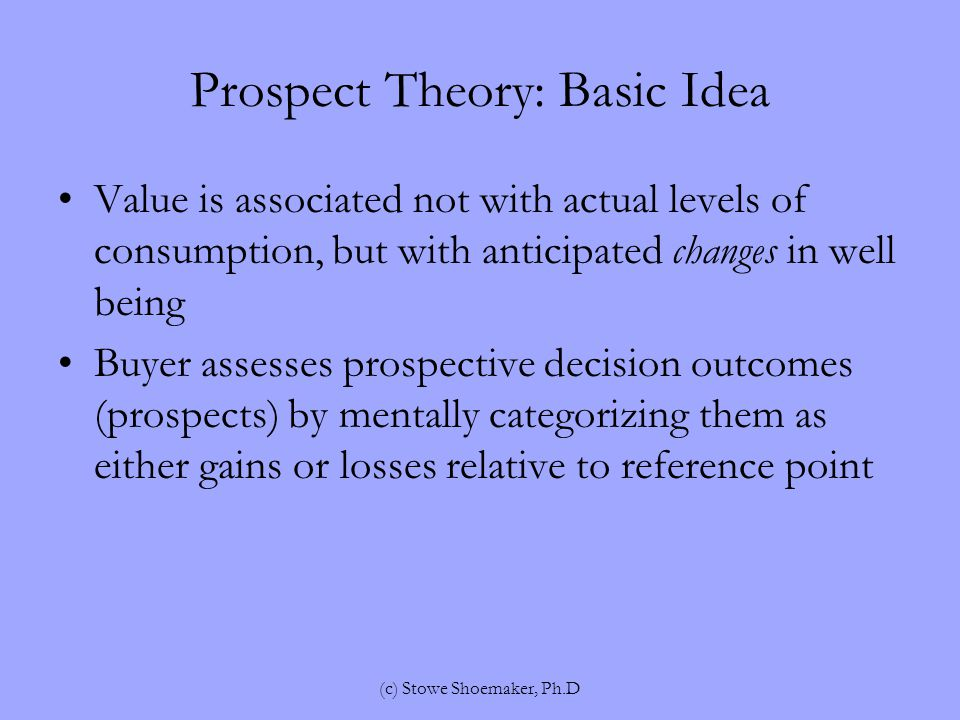 Prospect Theory: Basic Idea Value is associated not with actual levels of consumption, but with anticipated changes in well being Buyer assesses prospective decision outcomes (prospects) by mentally categorizing them as either gains or losses relative to reference point (c) Stowe Shoemaker, Ph.D
