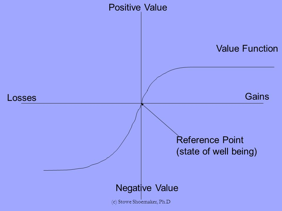 Losses Gains Positive Value Negative Value Reference Point (state of well being) Value Function (c) Stowe Shoemaker, Ph.D