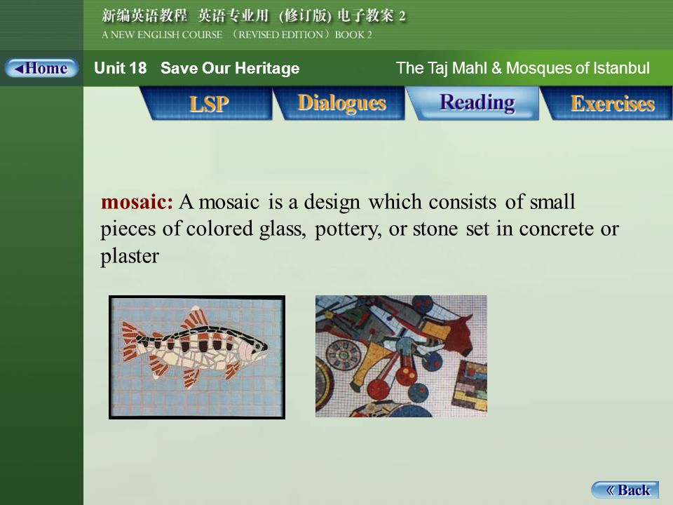 Unit 18 Save Our Heritage The Taj Mahl & Mosques of Istanbul mosaic: A mosaic is a design which consists of small pieces of colored glass, pottery, or