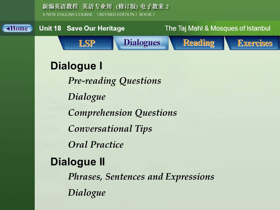 Unit 18 Save Our Heritage The Taj Mahl & Mosques of Istanbul Dialogue_MAIN Dialogue I Dialogue Dialogue II Phrases, Sentences and Expressions Dialogue Comprehension Questions Conversational Tips Oral Practice Pre-reading Questions