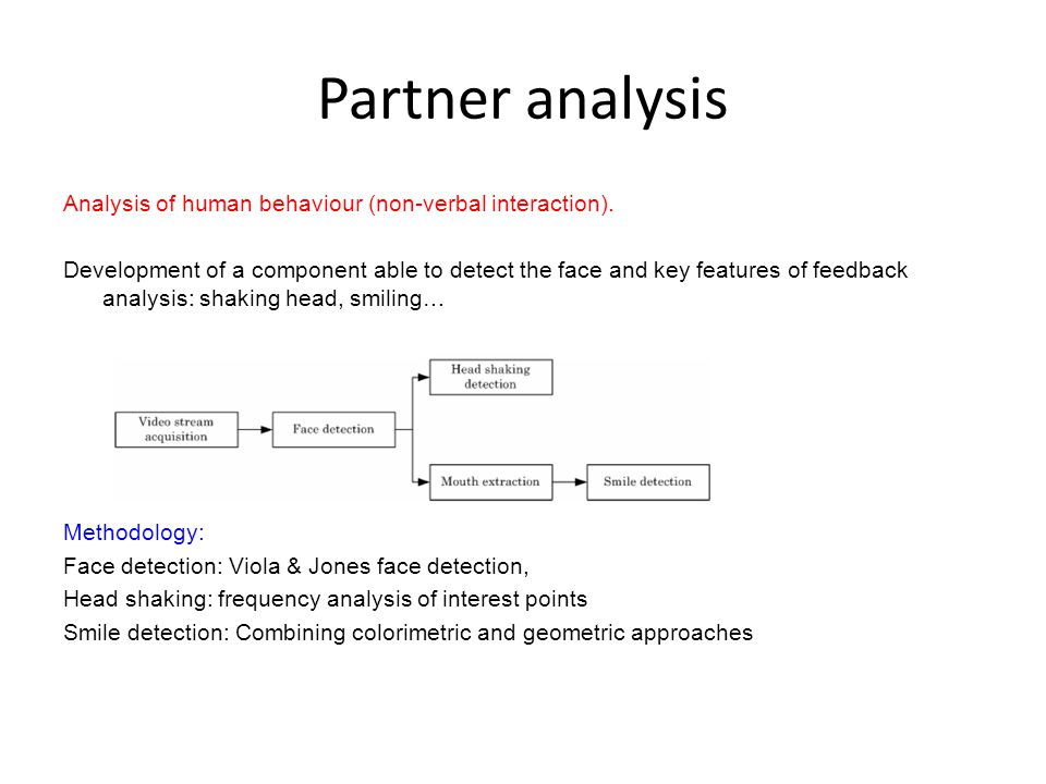 Partner analysis Analysis of human behaviour (non-verbal interaction). Development of a component able to detect the face and key features of feedback