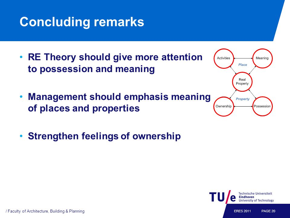 Concluding remarks RE Theory should give more attention to possession and meaning Management should emphasis meaning of places and properties Strength
