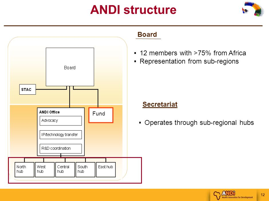 12 ANDI structure ▪12 members with >75% from Africa ▪Representation from sub-regions Board Fund ▪Operates through sub-regional hubs Secretariat