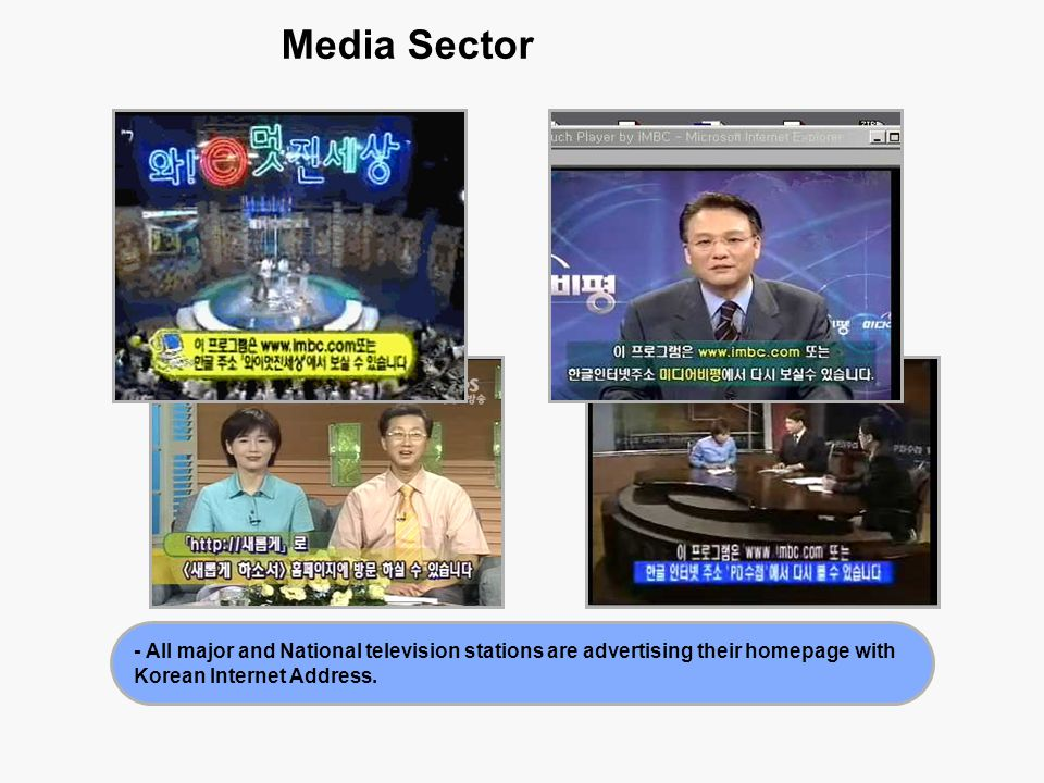 Media Sector - All major and National television stations are advertising their homepage with Korean Internet Address.