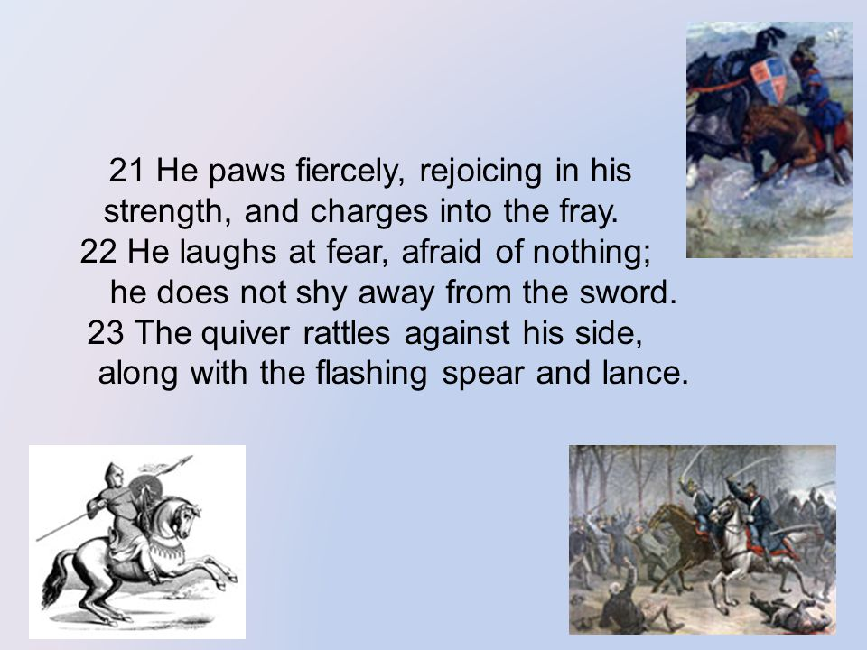 21 He paws fiercely, rejoicing in his strength, and charges into the fray.