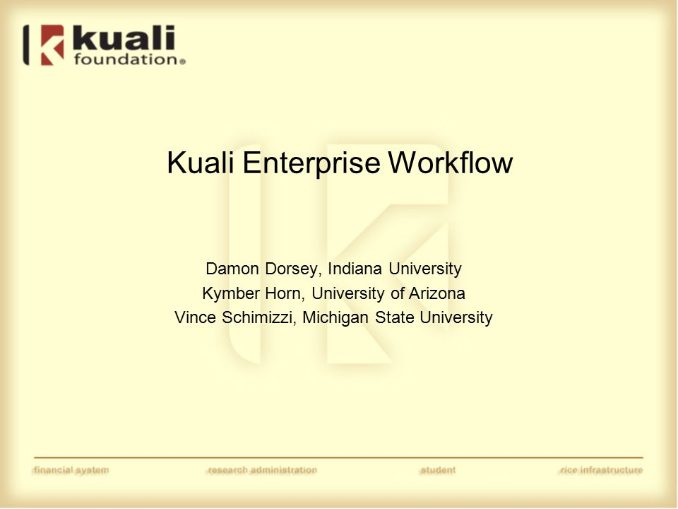 Kuali Enterprise Workflow Damon Dorsey, Indiana University Kymber Horn, University of Arizona Vince Schimizzi, Michigan State University