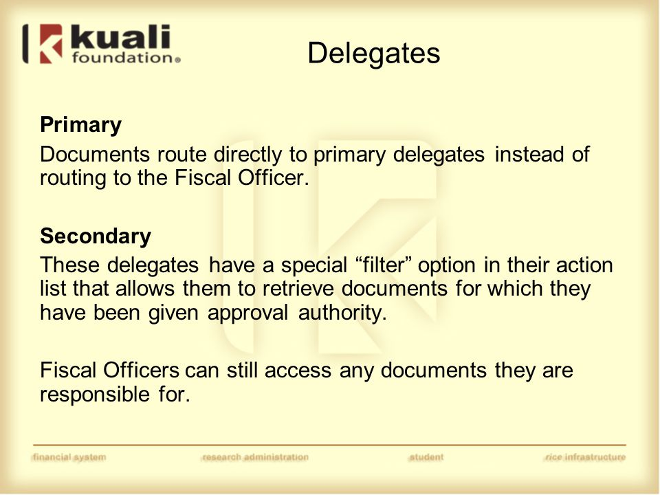 Delegates Primary Documents route directly to primary delegates instead of routing to the Fiscal Officer.