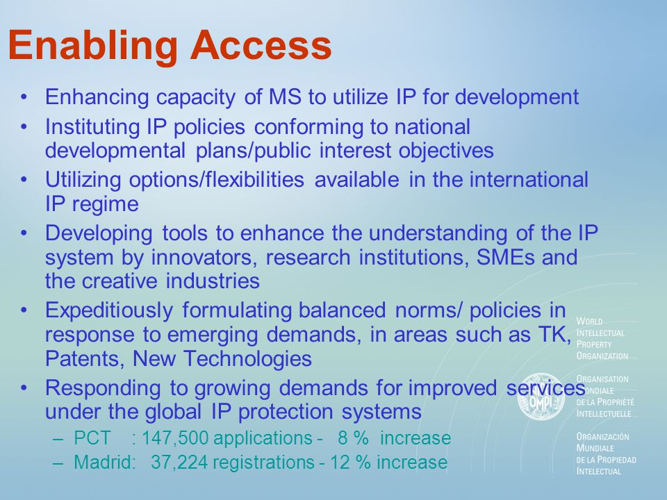 Enabling Access Enhancing capacity of MS to utilize IP for development Instituting IP policies conforming to national developmental plans/public interest objectives Utilizing options/flexibilities available in the international IP regime Developing tools to enhance the understanding of the IP system by innovators, research institutions, SMEs and the creative industries Expeditiously formulating balanced norms/ policies in response to emerging demands, in areas such as TK, Patents, New Technologies Responding to growing demands for improved services under the global IP protection systems –PCT : 147,500 applications - 8 % increase –Madrid: 37,224 registrations - 12 % increase