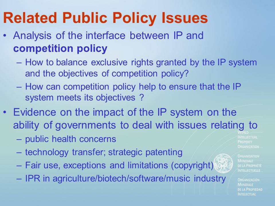 Related Public Policy Issues Analysis of the interface between IP and competition policy –How to balance exclusive rights granted by the IP system and the objectives of competition policy.