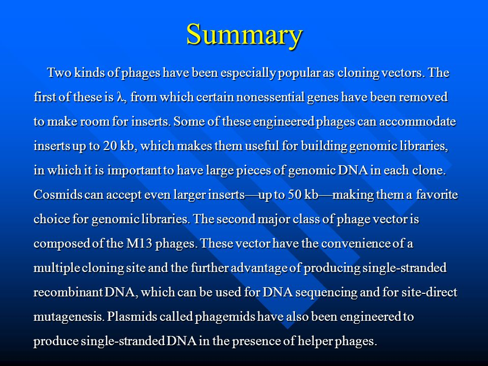 Summary Two kinds of phages have been especially popular as cloning vectors. The first of these is λ, from which certain nonessential genes have been