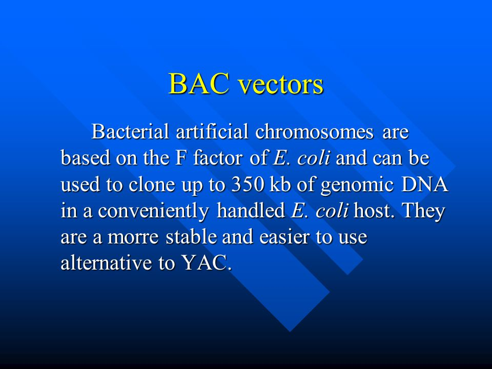 BAC vectors Bacterial artificial chromosomes are based on the F factor of E. coli and can be used to clone up to 350 kb of genomic DNA in a convenient