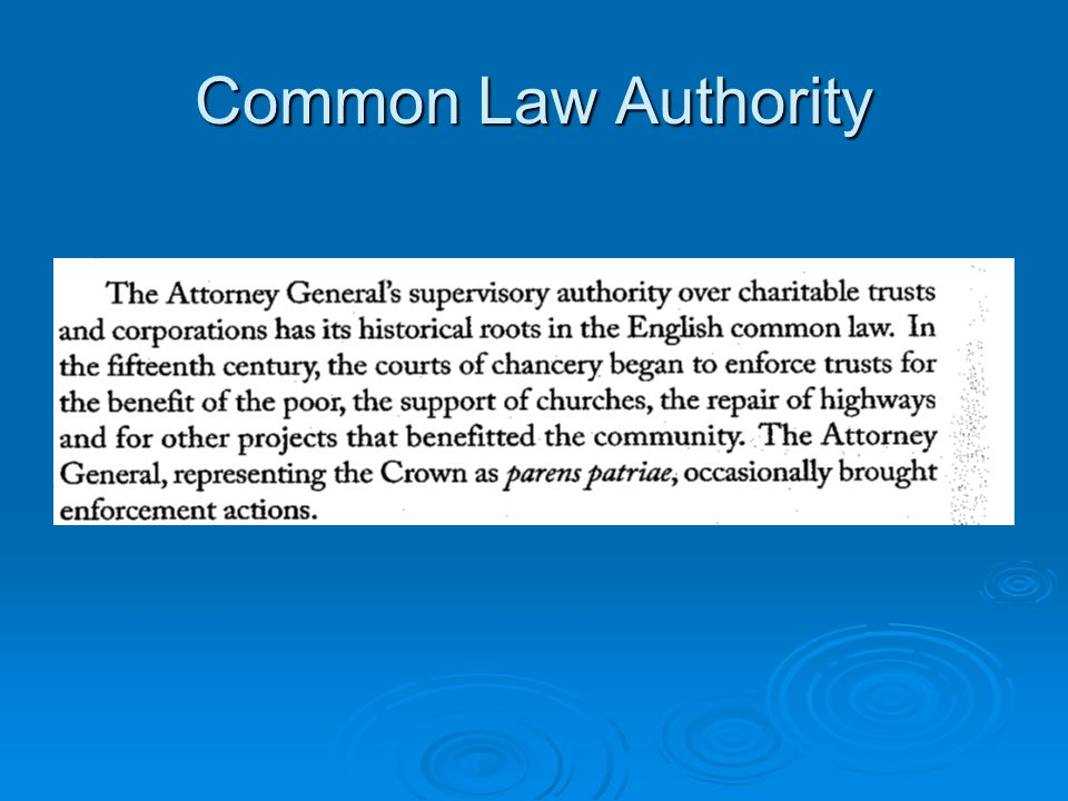 Common Law Authority
