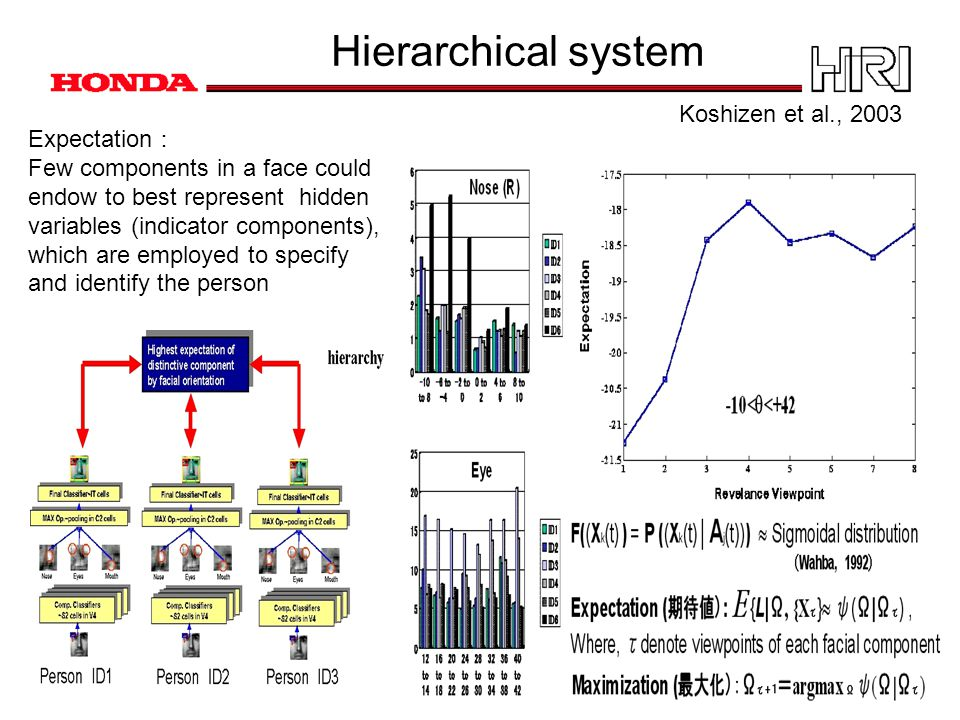 Hierarchical system Expectation : Few components in a face could endow to best represent hidden variables (indicator components), which are employed to specify and identify the person Koshizen et al., 2003