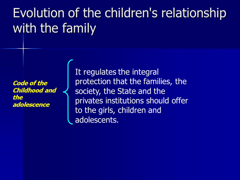 Evolution of the children s relationship with the family Code of the Childhood and the adolescence It regulates the integral protection that the families, the society, the State and the privates institutions should offer to the girls, children and adolescents.