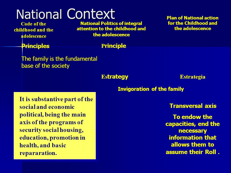 National Context To endow the capacities, end the necessary information that allows them to assume their Roll.