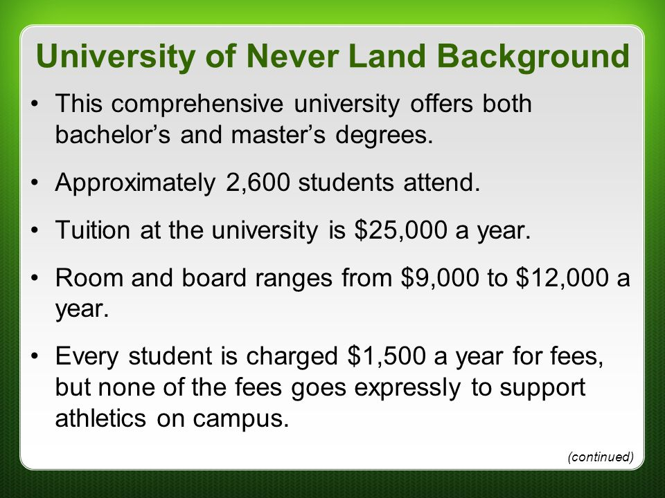 University of Never Land Background This comprehensive university offers both bachelor's and master's degrees. Approximately 2,600 students attend. Tu