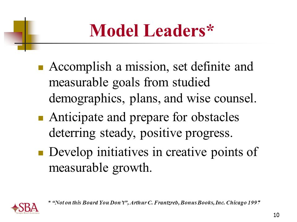 10 Model Leaders* Accomplish a mission, set definite and measurable goals from studied demographics, plans, and wise counsel. Anticipate and prepare f