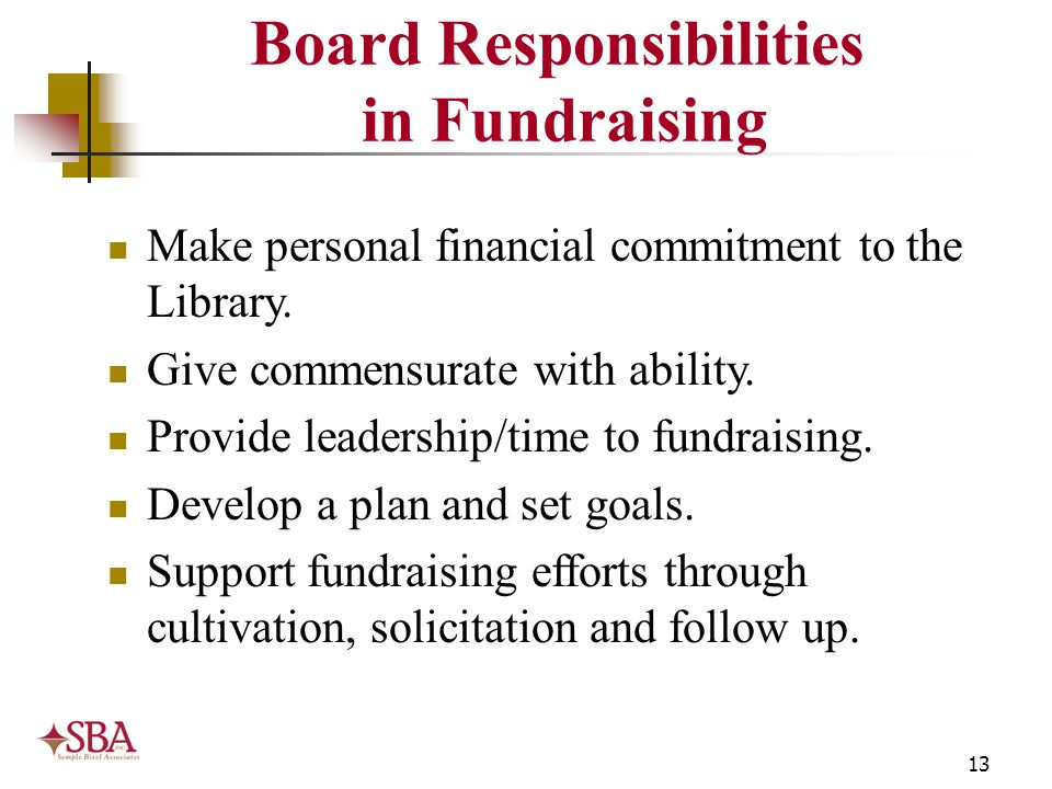 13 Board Responsibilities in Fundraising Make personal financial commitment to the Library. Give commensurate with ability. Provide leadership/time to