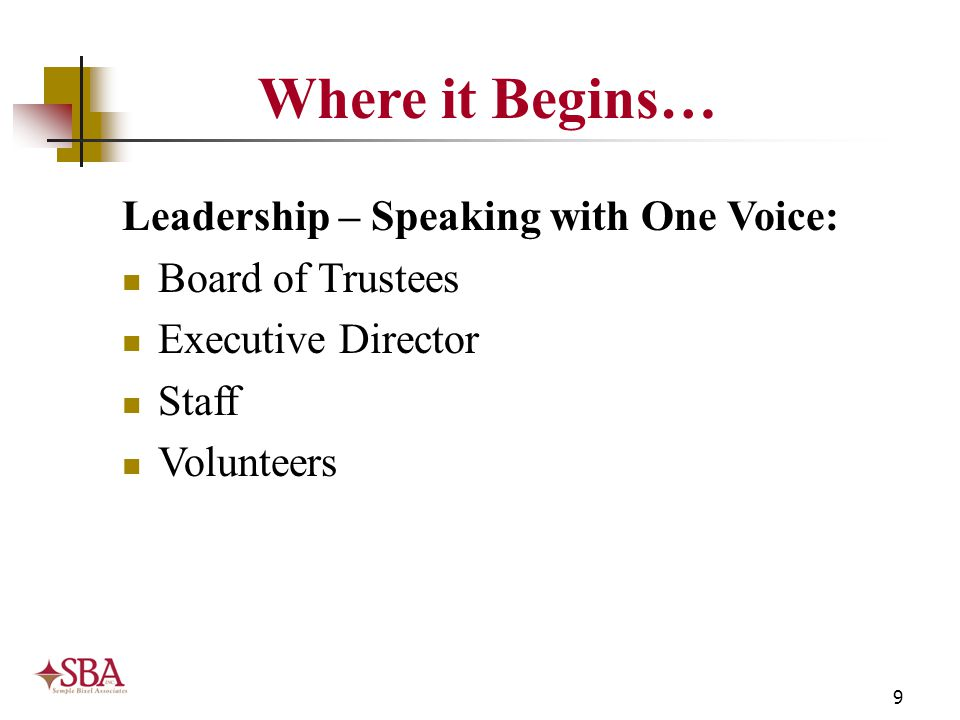 9 Leadership – Speaking with One Voice: Board of Trustees Executive Director Staff Volunteers Where it Begins…