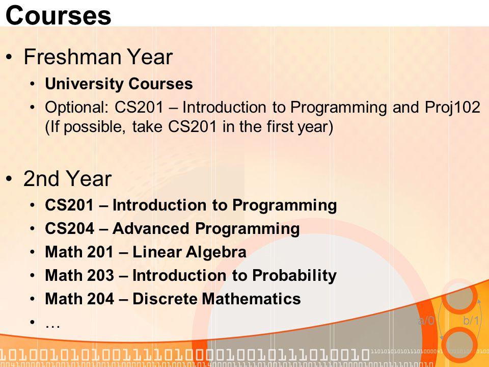 a/0b/1 Courses Freshman Year University Courses Optional: CS201 – Introduction to Programming and Proj102 (If possible, take CS201 in the first year)