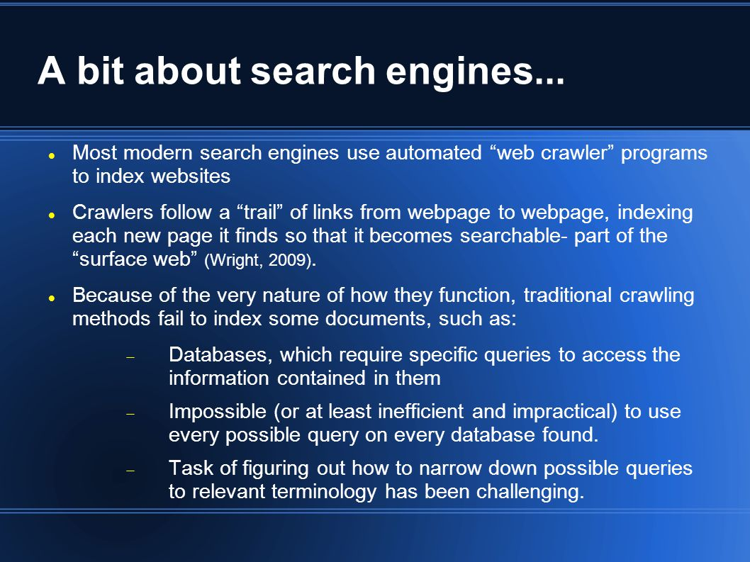 A bit about search engines...