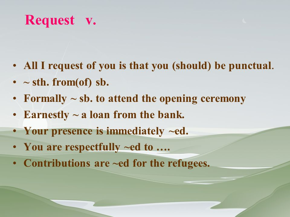 Request v. All I request of you is that you (should) be punctual.