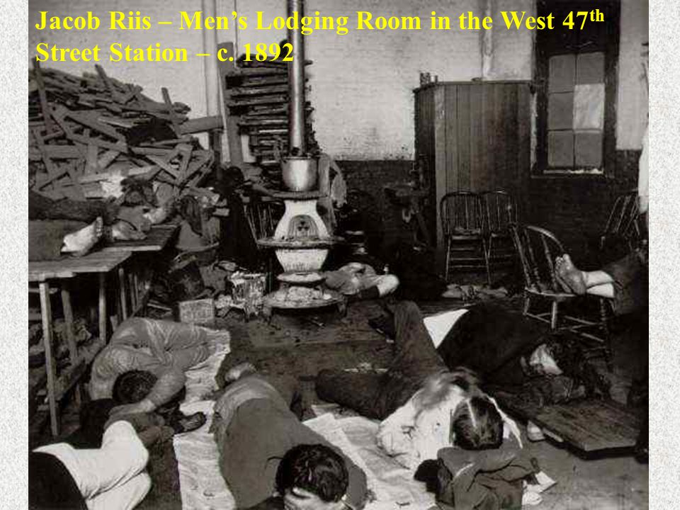 Jacob Riis – Men's Lodging Room in the West 47 th Street Station – c. 1892