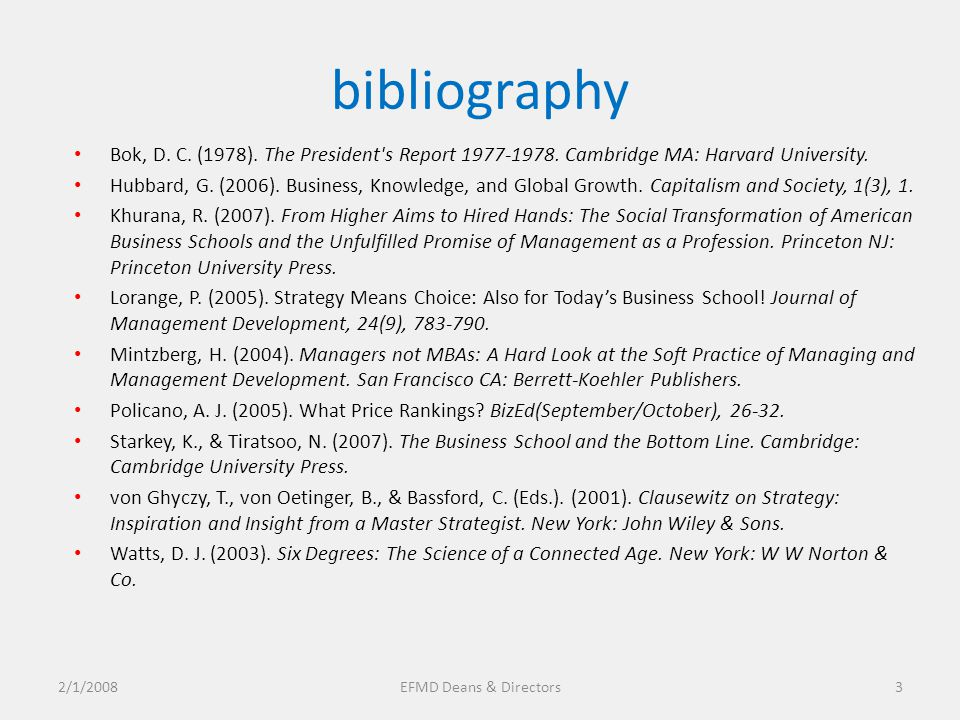 bibliography Bok, D. C. (1978). The President s Report 1977-1978.
