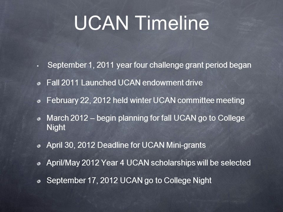 UCAN Timeline September 1, 2011 year four challenge grant period began Fall 2011 Launched UCAN endowment drive February 22, 2012 held winter UCAN committee meeting March 2012 – begin planning for fall UCAN go to College Night April 30, 2012 Deadline for UCAN Mini-grants April/May 2012 Year 4 UCAN scholarships will be selected September 17, 2012 UCAN go to College Night