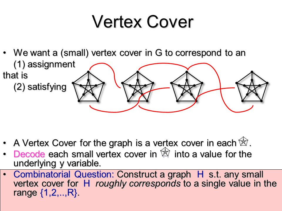 Vertex Cover We want a (small) vertex cover in G to correspond to anWe want a (small) vertex cover in G to correspond to an (1) assignment that is (2) satisfying A Vertex Cover for the graph is a vertex cover in each H.A Vertex Cover for the graph is a vertex cover in each H.
