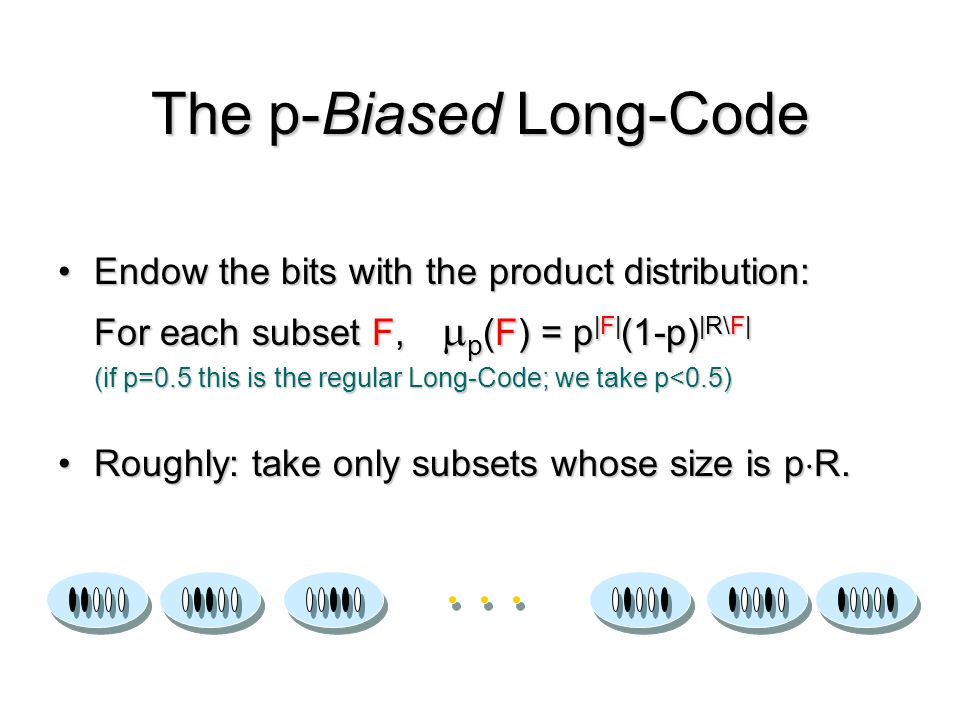Endow the bits with the product distribution: For each subset F,p(F) = p|F|(1-p)|R\F| (if p=0.5 this is the regular Long-Code; we take p<0.5) Roughly: take only subsets whose size is pR.