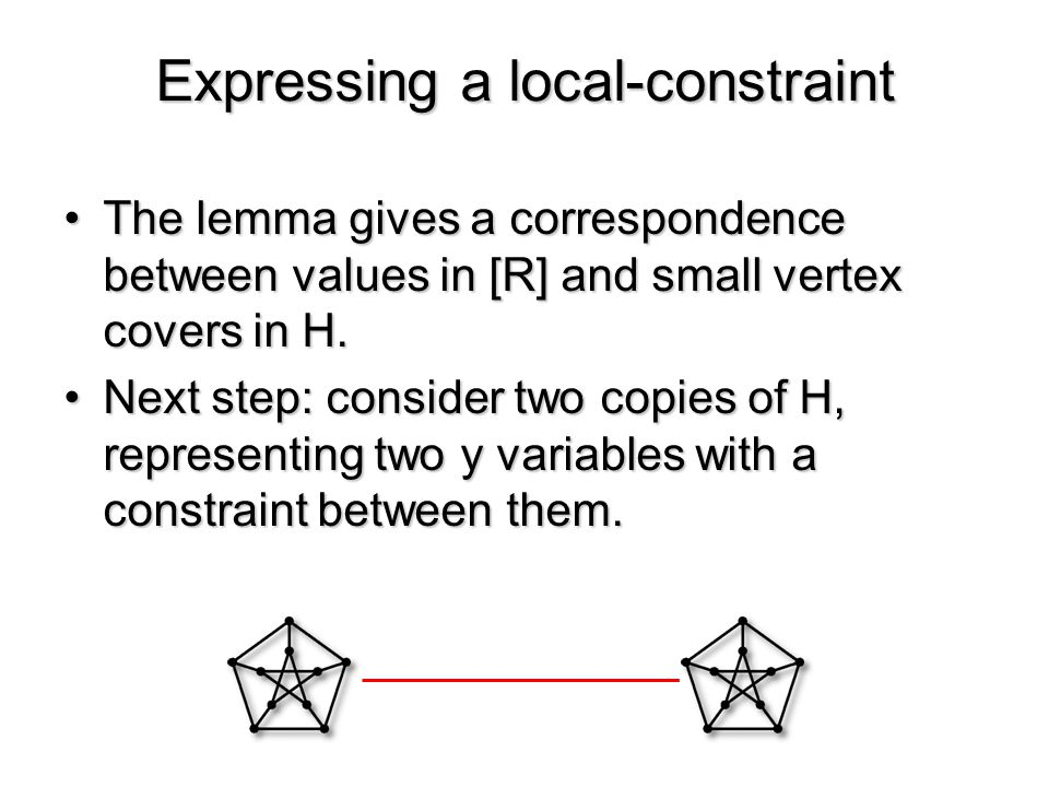 The lemma gives a correspondence between values in [R] and small vertex covers in H.The lemma gives a correspondence between values in [R] and small vertex covers in H.