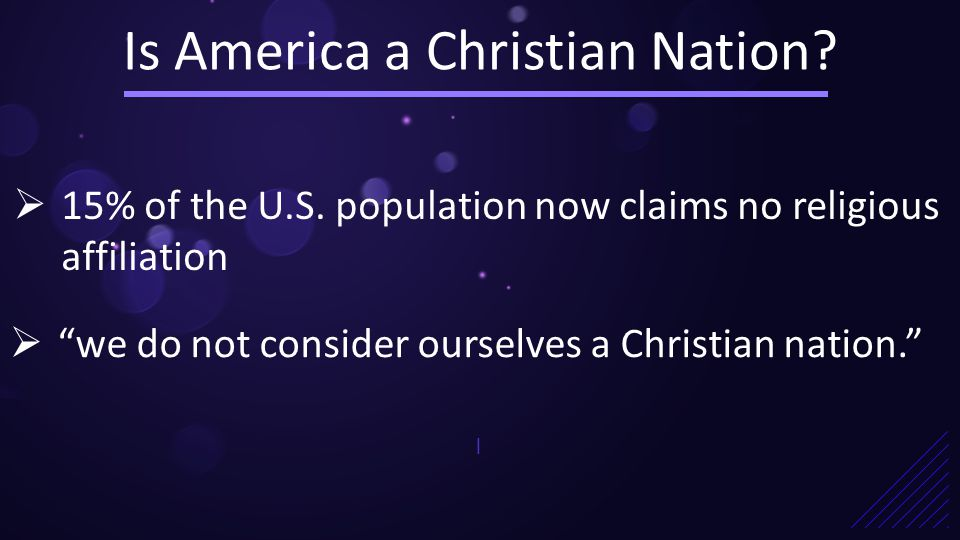 Is America a Christian Nation. |  15% of the U.S.
