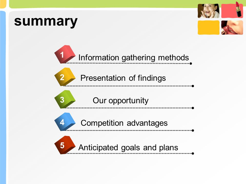 summary 4 Information gathering methods 1 2 3 5 Presentation of findings Our opportunity Competition advantages Anticipated goals and plans