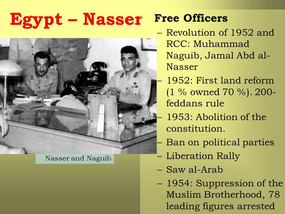 Egypt – Nasser Free Officers –Revolution of 1952 and RCC: Muhammad Naguib, Jamal Abd al- Nasser –1952: First land reform (1 % owned 70 %).