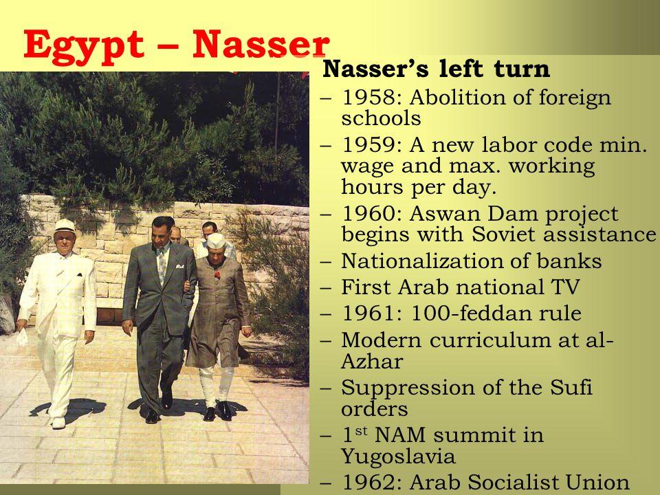Egypt – Nasser Nasser's left turn –1958: Abolition of foreign schools –1959: A new labor code min.