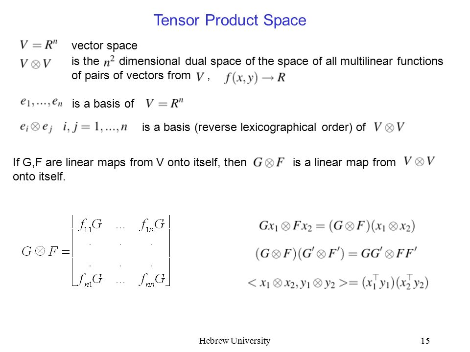Hebrew University15 is a basis of is a basis (reverse lexicographical order) of vector space is the dimensional dual space of the space of all multilinear functions of pairs of vectors from, Tensor Product Space If G,F are linear maps from V onto itself, then is a linear map from onto itself.