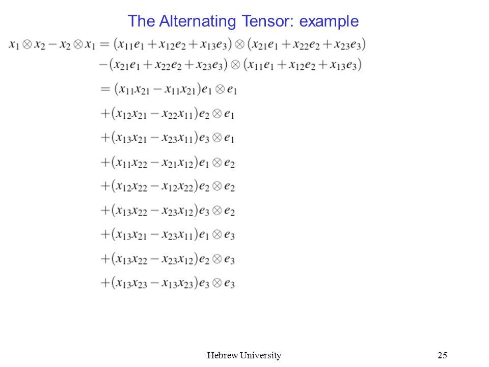 Hebrew University25 The Alternating Tensor: example