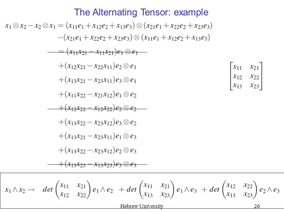 Hebrew University26 The Alternating Tensor: example
