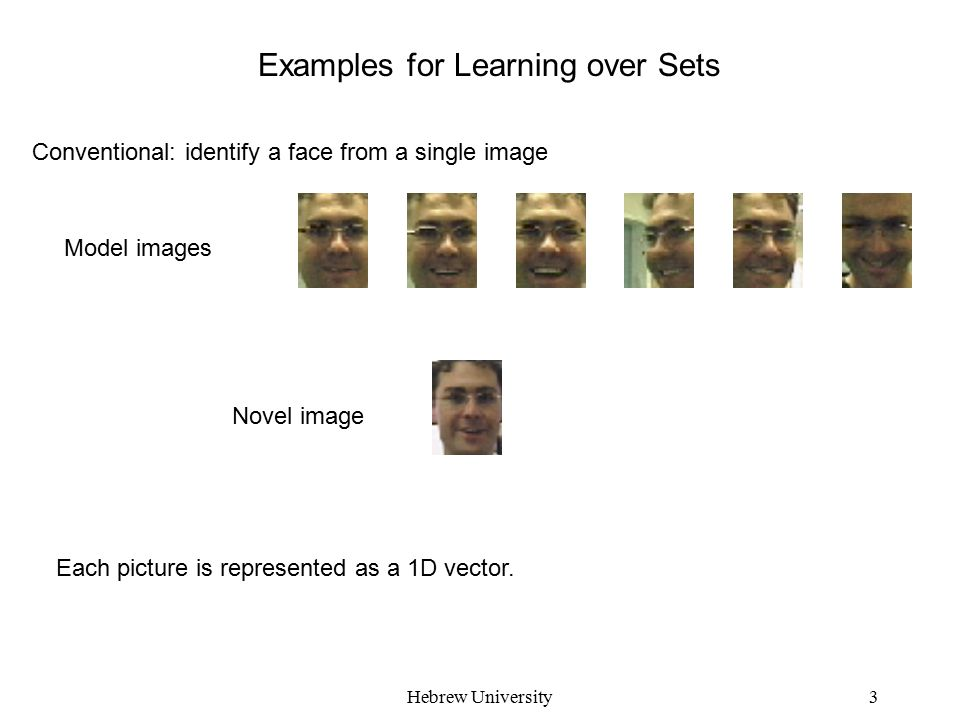 Hebrew University3 Examples for Learning over Sets Conventional: identify a face from a single image Model images Novel image Each picture is represented as a 1D vector.