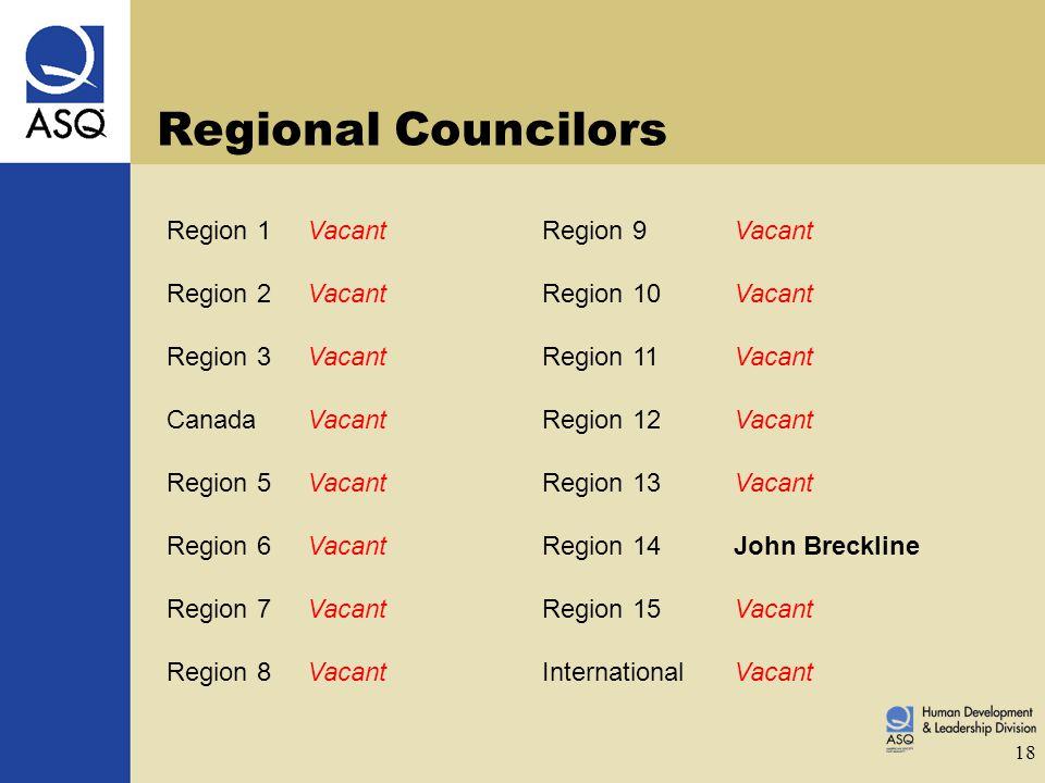 18 Regional Councilors Region 1VacantRegion 9Vacant Region 2VacantRegion 10Vacant Region 3VacantRegion 11Vacant CanadaVacantRegion 12Vacant Region 5VacantRegion 13Vacant Region 6VacantRegion 14John Breckline Region 7VacantRegion 15Vacant Region 8VacantInternationalVacant