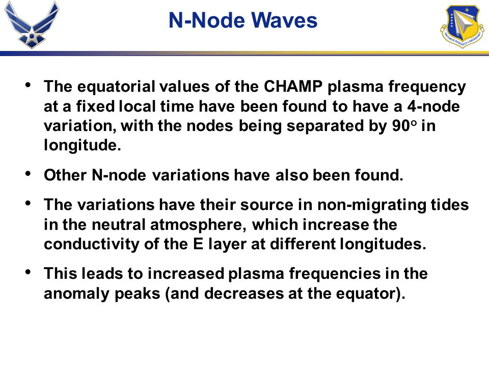 N-Node Waves The equatorial values of the CHAMP plasma frequency at a fixed local time have been found to have a 4-node variation, with the nodes being separated by 90 o in longitude.