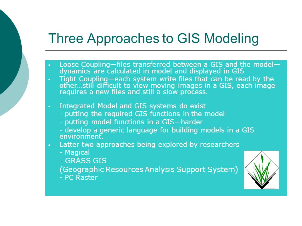 Three Approaches to GIS Modeling Loose Coupling—files transferred between a GIS and the model— dynamics are calculated in model and displayed in GIS Tight Coupling—each system write files that can be read by the other…still difficult to view moving images in a GIS, each image requires a new files and still a slow process.