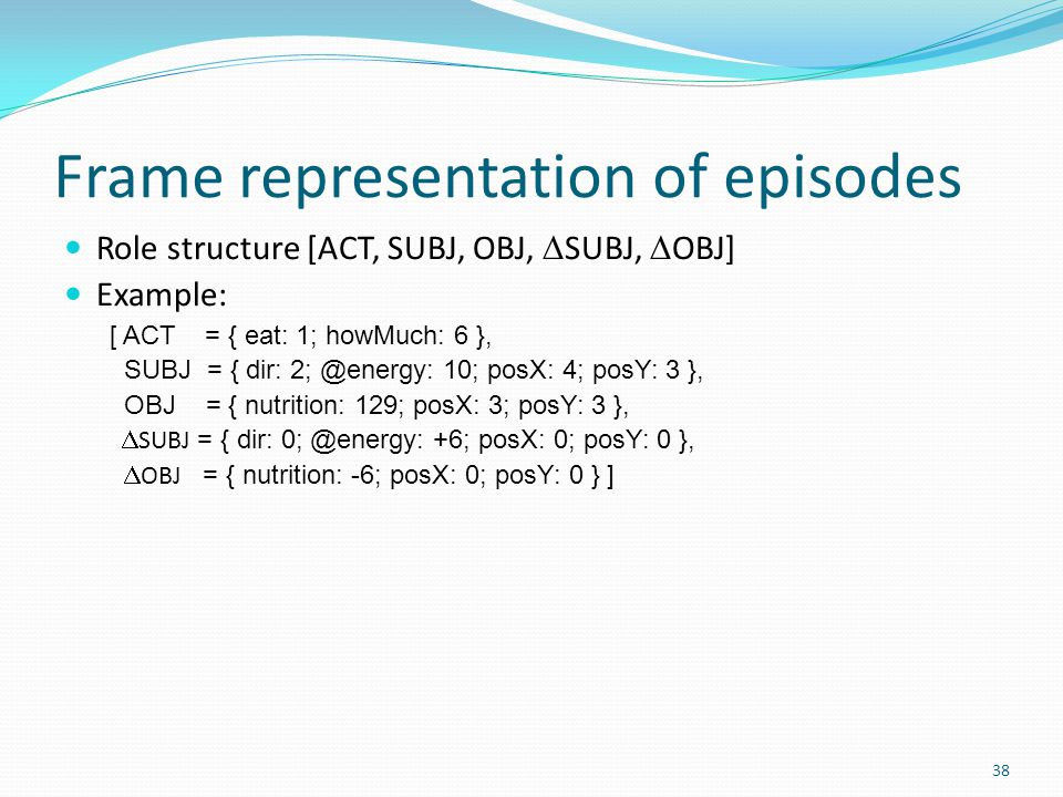Frame representation of episodes Role structure [ACT, SUBJ, OBJ,  SUBJ,  OBJ] Example: [ ACT = { eat: 1; howMuch: 6 }, SUBJ = { dir: 2; @energy: 10; posX: 4; posY: 3 }, OBJ = { nutrition: 129; posX: 3; posY: 3 },  SUBJ = { dir: 0; @energy: +6; posX: 0; posY: 0 },  OBJ = { nutrition: -6; posX: 0; posY: 0 } ] 38